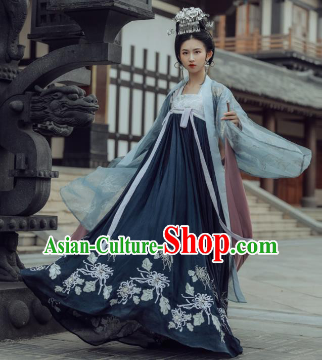 Chinese Ancient Tang Dynasty Princess Hanfu Dress Traditional Embroidered Costumes Complete Set for Women