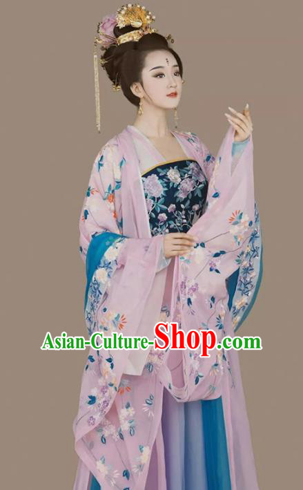 Chinese Ancient Palace Lady Hanfu Dress Traditional Tang Dynasty Imperial Concubine Embroidered Costumes Complete Set