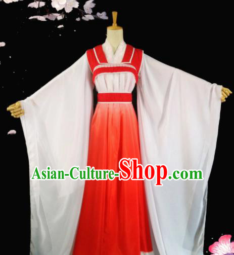 Chinese Ancient Princess Red Hanfu Dress Peri Costumes for Women