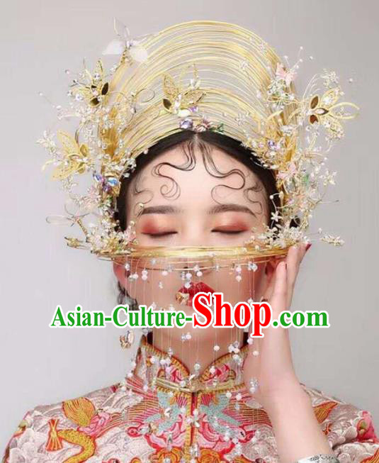 Chinese Traditional Wedding Phoenix Coronet Ancient Bride Hair Accessories Hairpins for Women