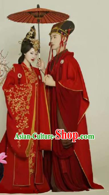 Chinese Traditional Wedding Dresses Ancient Bride and Bridegroom Embroidered Costumes Complete Set