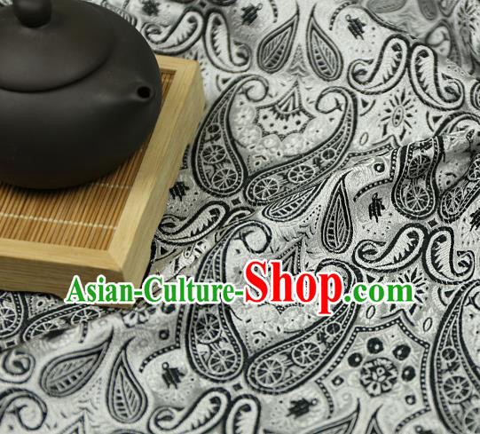 Asian Chinese Traditional Fabric Material Black Brocade Classical Pattern Design Satin Drapery
