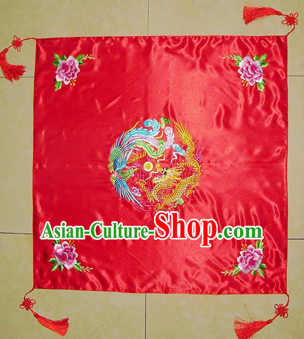 Chinese Traditional Wedding Headdress Ancient Bride Embroidered Phoenix Red Veil Curtain for Women