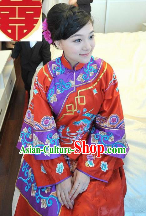 Chinese Traditional Bride Xiuhe Suit Ancient Embroidered Wedding Costumes for Women