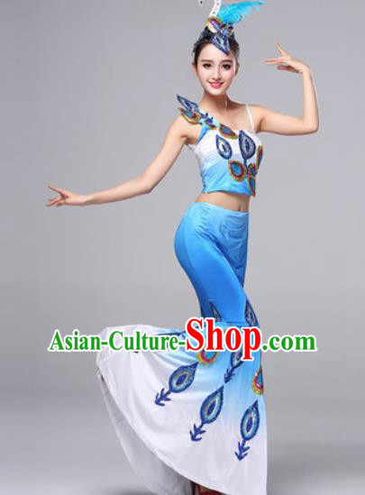 Chinese Traditional Dai Ethnic Costumes Minority Nationality Folk Dance Pavane Blue Dress for Women
