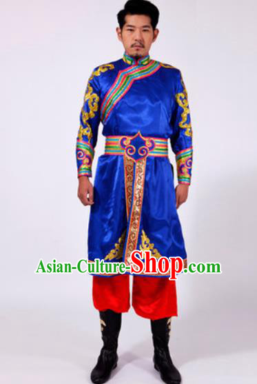 Chinese Traditional Folk Dance Costumes Mongolian Minority Blue Clothing for Men