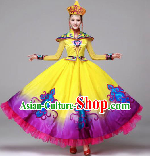 Chinese Traditional Ethnic Costumes Mongolian Minority Folk Dance Yellow Dress for Women