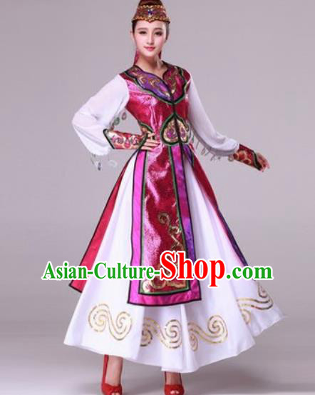 Chinese Traditional Ethnic Costumes Mongolian Minority Folk Dance Purple Dress for Women