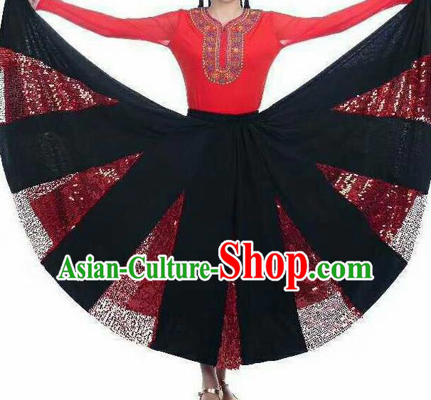 Chinese Traditional Xinjiang Uigurian Ethnic Costumes Uyghur Minority Folk Dance Red Dress for Women