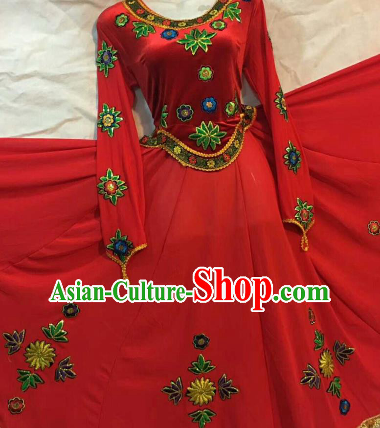 Chinese Traditional Uigurian Ethnic Costumes Xinjiang Uyghur Minority Folk Dance Red Dress for Women