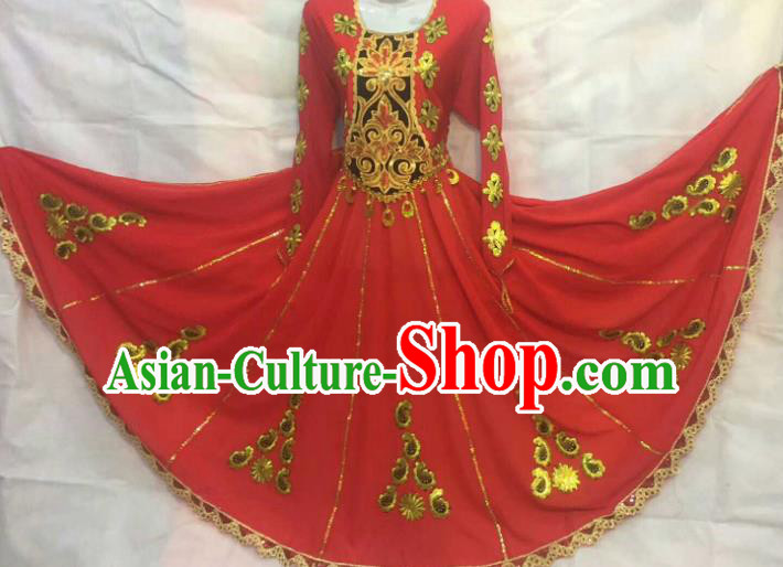 Chinese Traditional Uigurian Nationality Ethnic Costumes Xinjiang Uyghur Folk Dance Red Dress for Women