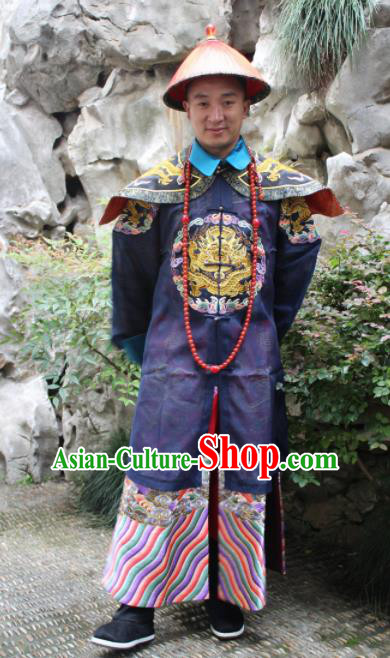 Chinese Traditional Ancient Qing Dynasty Manchu Royal Highness Embroidered Costumes and Hat for Men