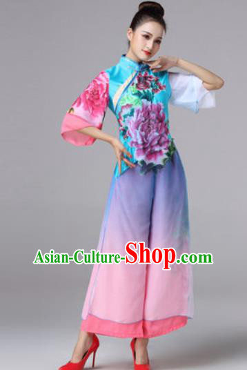 Chinese Classical Folk Dance Clothing Stage Performance Fan Dance Costumes for Women