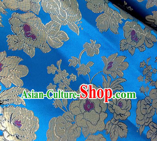 Chinese Traditional Blue Brocade Classical Peony Pattern Design Silk Fabric Material Satin Drapery