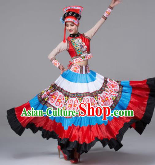 Chinese Traditional Ethnic Costumes Yi Minority Nationality Folk Dance Dress for Women