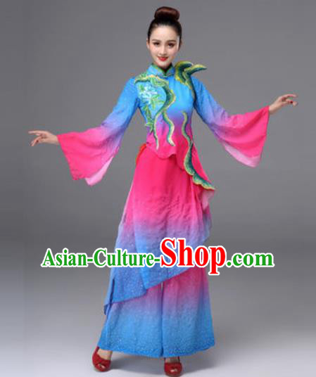 Traditional Chinese Classical Dance Blue Clothing Yangko Dance Costume for Women
