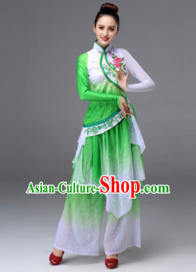Traditional Chinese Classical Dance Green Clothing Yangko Dance Costume for Women