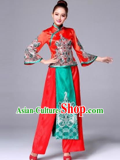 Traditional Chinese Classical Dance Red Clothing Yangko Dance Costume for Women