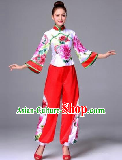 Traditional Chinese Classical Dance Silk Clothing Yangko Dance Costume for Women