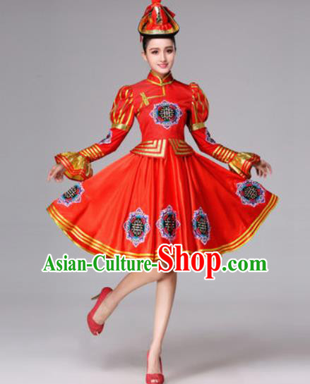 Chinese Traditional Ethnic Costumes Mongol Minority Nationality Folk Dance Red Dress for Women