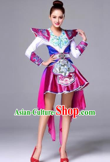 Traditional Chinese Classical Dance Purple Dress Drum Dance Folk Dance Costume for Women