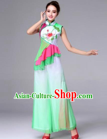 Traditional Chinese Yangko Dance Drum Dance Folk Dance Green Costume for Women