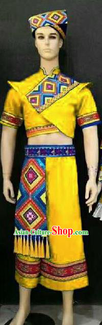 Chinese Traditional Folk Dance Yellow Costumes Zhuang Minority Dance Clothing for Men