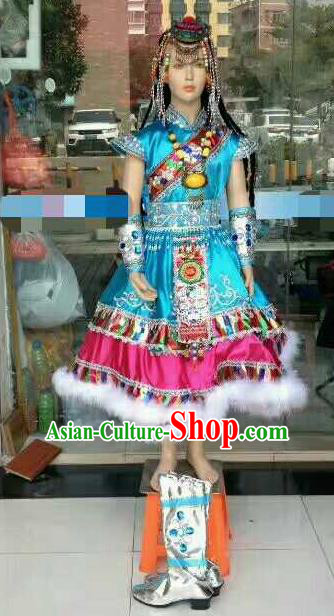 Chinese Traditional Zang Nationality Costumes Tibetan Folk Dance Ethnic Blue Dress for Kids