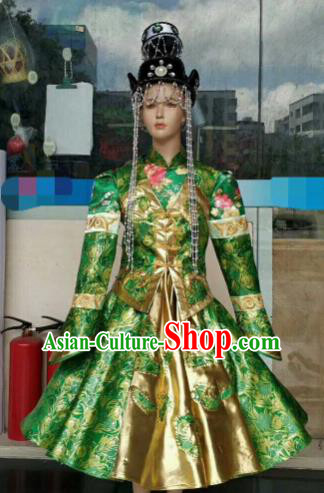 Chinese Traditional Mongol Nationality Green Costumes Mongolian Folk Dance Ethnic Dress for Kids