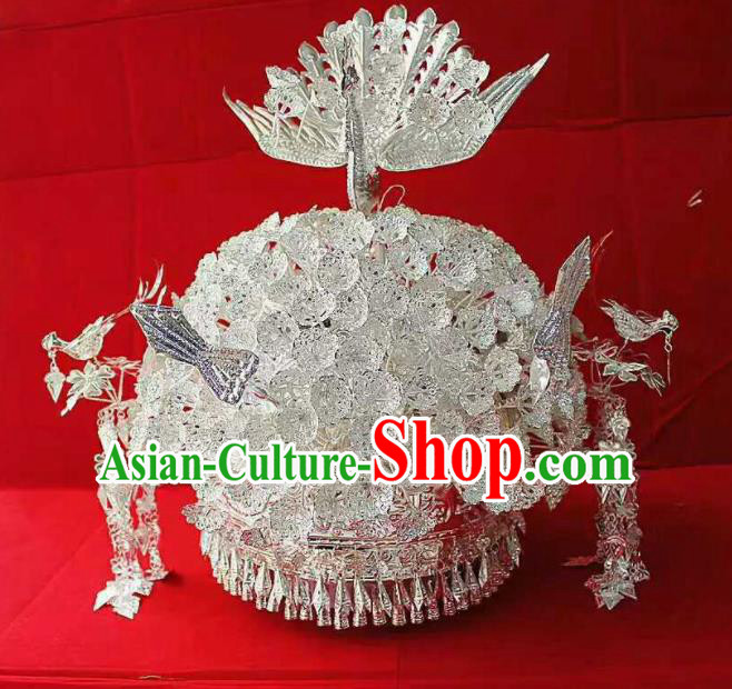 Chinese Traditional Miao Nationality Hair Accessories Ethnic Sliver Phoenix Coronet Headwear for Women