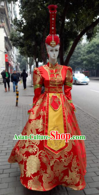 Chinese Traditional Mongol Nationality Costumes Mongolian Folk Dance Red Dress and Hat for Women