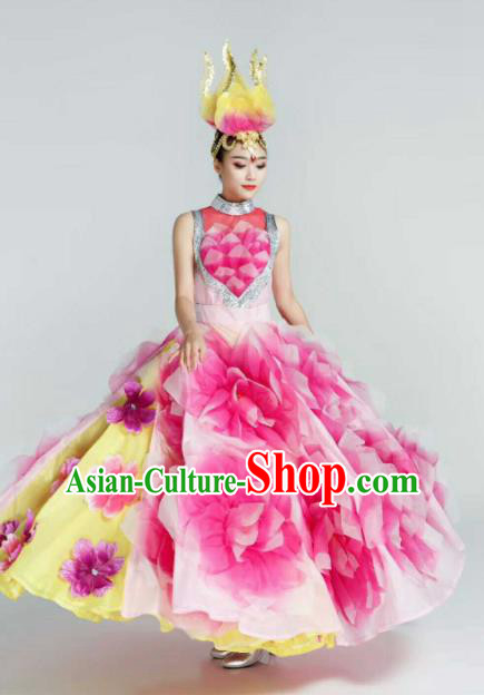 Chinese Traditional Classical Dance Costumes Peony Dance Pink Dress for Women