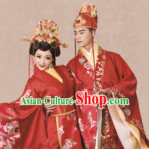 Traditional Chinese Ancient Han Dynasty Embroidered Wedding Costumes and Headpiece Complete Set for Women for Men