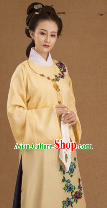 Chinese Ancient Ming Dynasty Contessa Embroidered Costumes and Headpiece Complete Set for Women