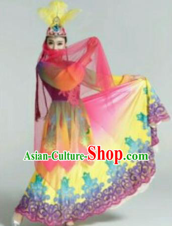 Chinese Traditional Uyghur Nationality Costumes Uyghurian Ethnic Folk Dance Dress and Hat for Women
