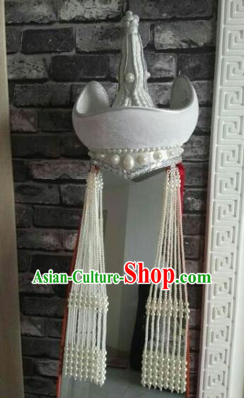 Chinese Traditional Mongol Nationality Dance Hair Accessories Mongolian Princess Ethnic White Hat for Women