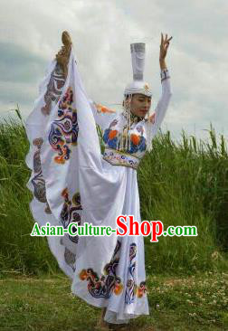 Chinese Traditional Mongol Nationality Costumes Mongolian Ethnic Folk Dance White Dress and Hat for Women