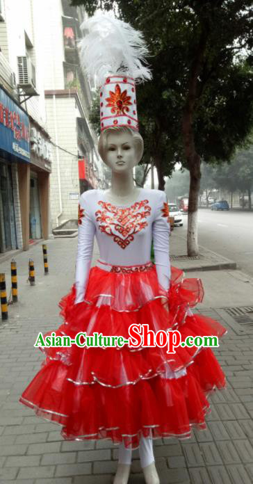 Chinese Traditional Kazakhs Nationality Costumes Ethnic Folk Dance Red Dress for Women