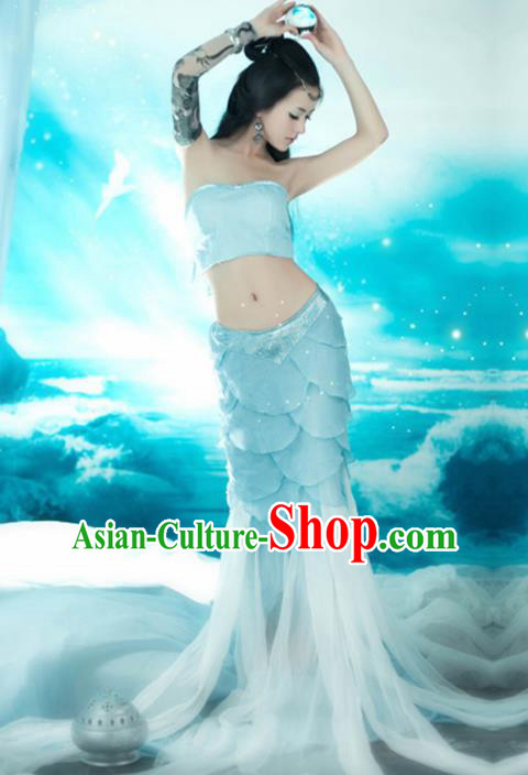 Chinese Ancient Peri Mermaid Costumes Blue Dress for Women