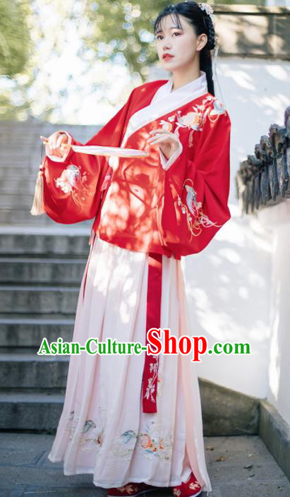 Traditional Chinese Ming Dynasty Embroidered Costumes Ancient Red Blouse and Pink Skirt for Women