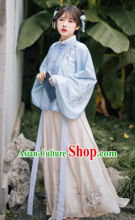 Ancient Chinese Ming Dynasty Young Lady Costumes Embroidered Blue Blouse and Skirt for Women