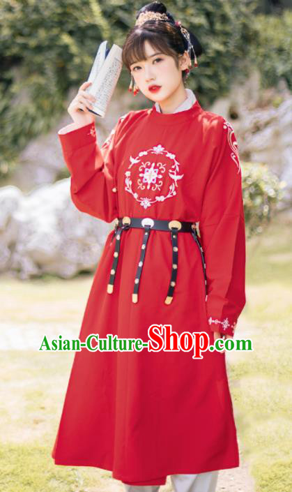 Ancient Chinese Traditional Swordswoman Costumes Tang Dynasty Embroidered Red Robe for Women