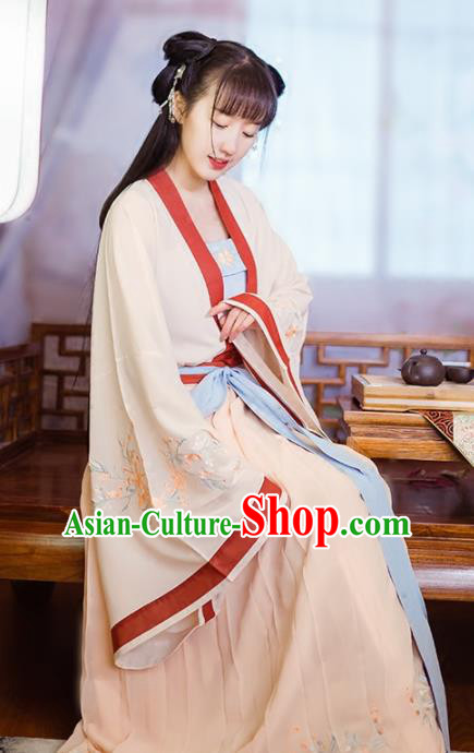 Chinese Ancient Nobility Lady Costumes Tang Dynasty Princess Embroidered Dress for Women