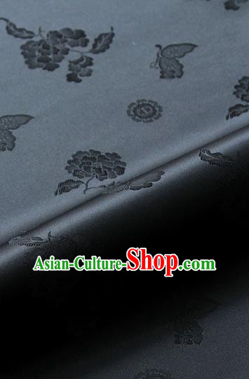 Asian Korean Traditional Black Brocade Fabric Classical Butterfly Peony Pattern Silk Fabric Hanbok Silk Material
