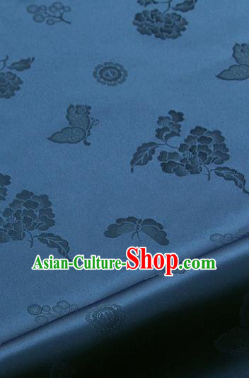 Asian Korean Traditional Navy Brocade Fabric Classical Butterfly Peony Pattern Silk Fabric Hanbok Silk Material