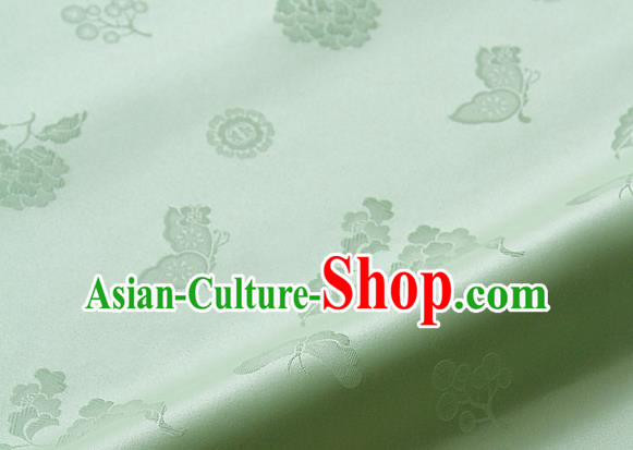 Asian Korean Traditional Light Green Brocade Fabric Classical Butterfly Peony Pattern Silk Fabric Hanbok Silk Material