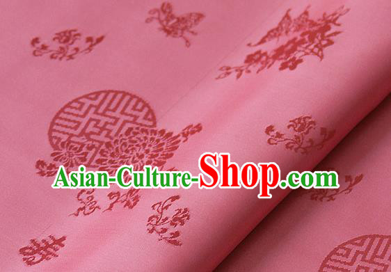 Asian Traditional Palace Drapery Korean Hanbok Royal Butterfly Pattern Peach Pink Brocade Satin Fabric