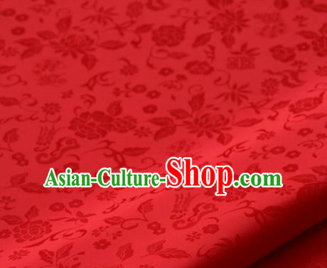 Asian Traditional Palace Drapery Korean Hanbok Royal Chrysanthemum Pattern Red Brocade Satin Fabric