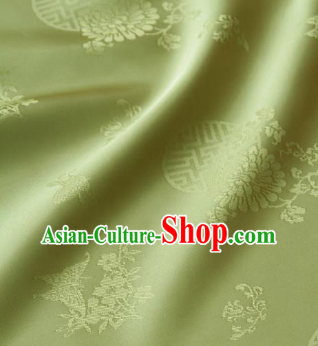 Asian Traditional Palace Drapery Korean Hanbok Royal Butterfly Pattern Green Brocade Satin Fabric
