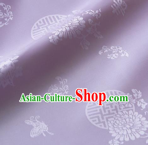 Asian Traditional Palace Drapery Korean Hanbok Royal Butterfly Pattern Lilac Brocade Satin Fabric